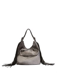 Brian Atwood Dubai Metallic Fringed Leather Hobo Bag Pewter