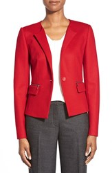Petite Women's Classiques Entier Wool Blend Jersey One Button Jacket Red Samba