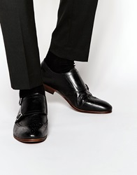 H By Hudson Welch Brogue Monk Shoes Black