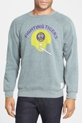 Original Retro Brand 'Lsu Tigers Football' Slim Fit Raglan Crewneck Sweatshirt Gray