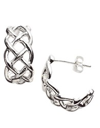 Lord And Taylor Sterling Silver Open Weave Cuff Earrings