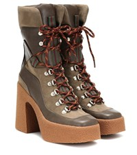 Stella Mccartney Faux Leather And Suede Ankle Boots Brown