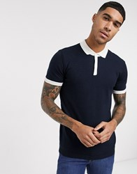 New Look Colourblock Knitted Polo In Navy