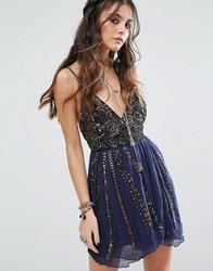 Free People Cassiopeia Party Mini Dress Navy Blue