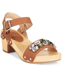 Mojo Moxy Strawberry Two Piece Wooden Platform Sandals Women's Shoes Tobacco