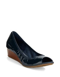 Cole Haan Tali Open Toe Stacked Wedges Blazer Blue