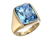 Cole Haan Large Rectangle Stone Ring Gold Blue London Spinel Glass Stone Ring