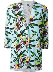 I'm Isola Marras Floral Print V Neck Cardigan Blue