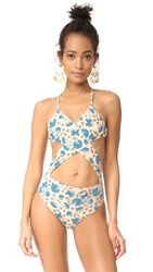 For Love And Lemons Tulip Criss Cross Swimsuit Tan Multi