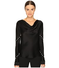 Prabal Gurung Long Sleeve Cowl Neck Blouse W Pearls Black Women's Blouse
