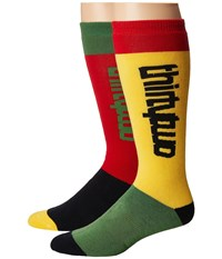Thirtytwo Color Blocked Sock Red Gold Men's Crew Cut Socks Shoes