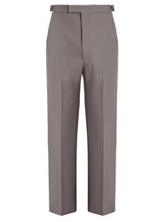 Christophe Lemaire Mid Rise Wide Leg Wool Twill Trousers Grey