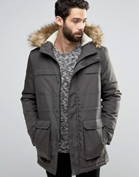 Only And Sons Parka With Faux Fur Borg Lined Hood Charcoal Grey