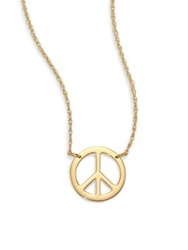 Jennifer Zeuner Jewelry Lauren Peace Sign Pendant Necklace Gold
