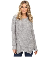 Kensie Mixed Punk Yarn Sweater With Shark Tooth Hem Ks0k5459 Titanium Combo Women's Sweater Silver