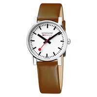 Mondaine Unisex Exclusive Leather Strap Watch Tan White