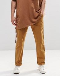 Asos Straight Leg Drop Crotch Cargo Trousers In Cropped Length In Sand Sand Brown