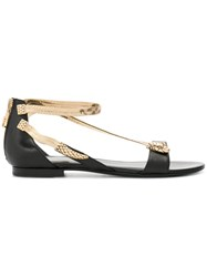 Roberto Cavalli Open Toe Embellished Sandals Women Calf Leather Leather Rubber 37 Black