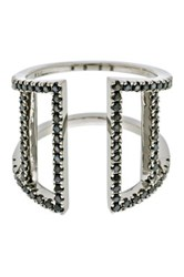 Doublanc Black Rhodium Plated Sterling Silver Cz Open Cuff Ring