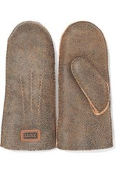 Australia Luxe Collective Woman Burnished Shearling Mittens Camel