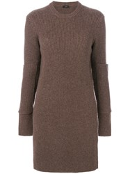 Joseph Long Ribbed Knit Jumper Cashmere S Brown