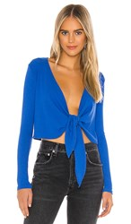 Only Hearts Club Eco Rib Wrap Top In Blue. Cobalt