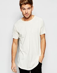 Esprit Longline T Shirt With Raw Edges Off White