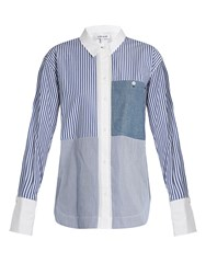 Elizabeth And James Keating Point Collar Striped Cotton Shirt Blue White