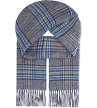 Johnstons Double Face Check Cashmere Scarf Blue Ginger