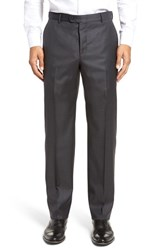 Hickey Freeman Men's Big And Tall Flat Front Solid Wool Trousers Charcoal Shark