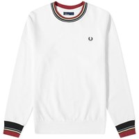 Fred Perry Authentic Bold Tipped Crew Sweat White