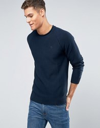 Abercrombie And Fitch Knit Jumper Logo Slight Roll Neck Melange In Navy Navy