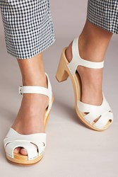 Swedish Hasbeens Suzanne Heeled Clogs White