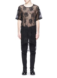 Ann Demeulemeester Floral Embroidery Sheer Cotton Silk Top Black