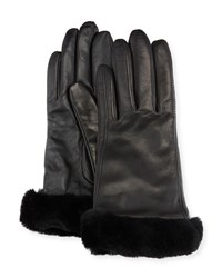 Ugg Leather Gloves W Shearling Fur Cuffs Stormy Gray
