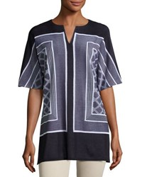 Misook Printed Split Neck Half Sleeve Tunic Blue White