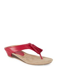 Kenneth Cole Reaction Great Tassel Party Wedge Thong Sandals Red