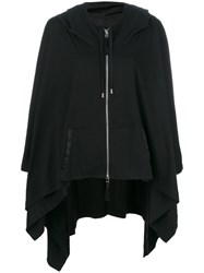Unconditional Hooded Zip Up Poncho Women Cotton M Black