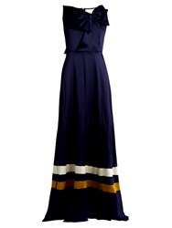 Roksanda Ilincic Devey Sleeveless Hammered Silk Gown Navy
