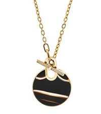 Michael Kors Gold Tone Pave And Black Agate Pendant Necklace
