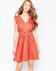 Trollied Dolly Butter Wouln't Melt Dress In Polka Dot Print Red