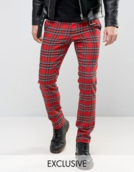 Reclaimed Vintage Skinny Tartan Trousers Red