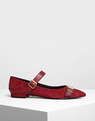 Charles And Keith Leather Strap Detail Suede Flats Red