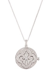 Nadri Pave Fleur De Lis Round Locket Pendant Necklace No Color