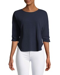 Casual Couture 3 4 Ruched Sleeve Tee Navy