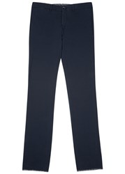 Lardini Navy Textured Cotton Blend Trousers