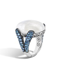 John Hardy Classic Chain Batu Blue Sapphire And Moonstone Ring Women's Silver