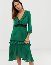 Liquorish Pleated Midi Dress With Contrast Lace Inserts And Ruffle Detail Green