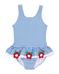 Florence Eiseman Stripe Seersucker Ruffle One Piece Swimsuit W Flower Trim Size 6 24 Months Blue White