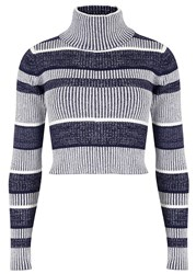 Finders Keepers Never Catch Me Striped Cotton Blend Jumper Blue